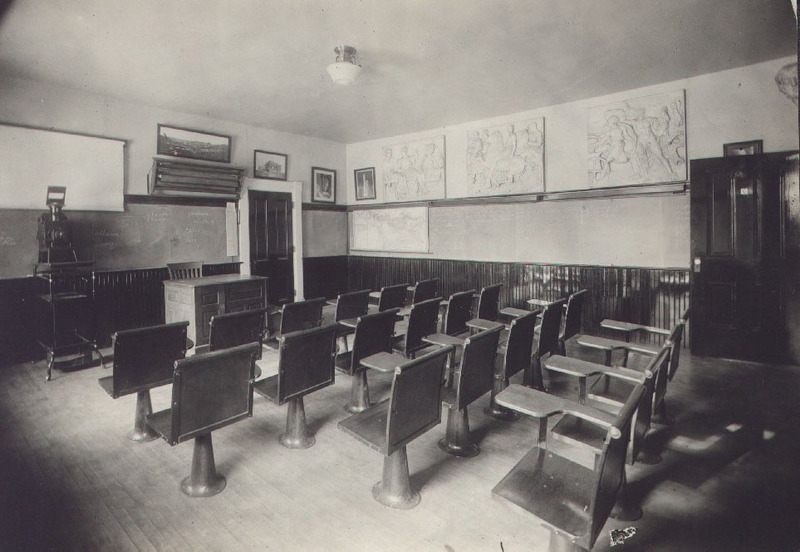 Classroom on the third floor of Bentley Hall.